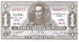 Bolivia - Pick 128c - 1 Boliviano 1952 - AUnc - Bolivia