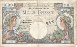 G501 - Billet De 1000 Francs - Commerce Et Industrie - 24 Octobre 1940 - 1871-1952 Anciens Francs Circulés Au XXème