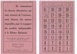 Carte De Ravitaillement Ration 1939 1945 Ww2 - 1939-45