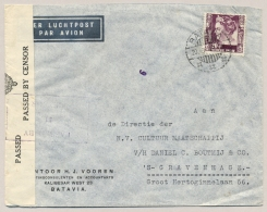 Nederlands Indië - 1940 - 20 Cent Wilhelmina Op Censored Cover Van Batavia Naar Den Haag - Nederlands-Indië