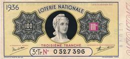 G501 - Billet De Loterie Nationale 100 Francs - 3e Tranche - N° 0527396 - Année 1936 - Billets De Loterie