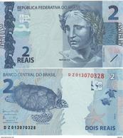 "BRAZIL   New  2 Reais   PNew    Printer's Name At Back ""CRANE AB""    Turtles - Brasile"