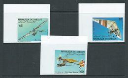 Djibouti 1984 Motorised Gliders & Air Craft Set Of 3 Imperforate MNH Corner Singles - Djibouti (1977-...)