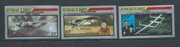Djibouti 1987 Historic Flights Plane Set Of 3 Imperforate MNH - Djibouti (1977-...)