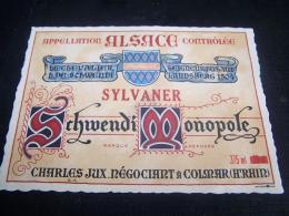 Etiquette Vin Wine Label Ancienne Alsace Old Sylvaner Schwendi Monopole Colmar 68000 - Gewurztraminer