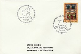 1971 Luxembourg RAILWAY WORKERS PHILATELIC EXHIBITION COVER Stamps Train Religion Art Event - Luxembourg