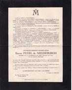 OOSTKAMP Georges Baron PEERS De NIEUWBURGH Gand 1867 Bruxelles 1932 - Todesanzeige