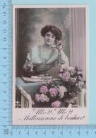 Femme -  Fleurs, Femme Au Telephone, Hello ! Hello!! Meilleur Veux De Bonheurs - Postcard - Femmes