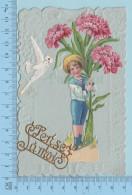"""Carte Embossée 1909 -  Decoupis Sur Carte  Fleurs, Enfant, Colombe Avec Carte - """"Pense à Moi"""" -  Postcard Carte Postale - Fantaisies"""