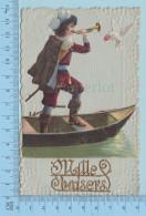 """Carte Embossée 1909 -  Decoupis Sur Carte  Mousquetaire Colombe Avecfleurs - """"Mille Baisers"""" -  Postcard Carte Postale - Fantaisies"""