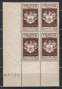 FRANCE 1944 - BLOC DE 4 Y.T. N° 668 COIN DE FEUILLE - NEUFS** /Y154 - Unused Stamps