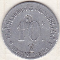42 - LOIRE. UNIEUX. Etablissements Jacob Holtzer . 10 Centimes - Monétaires / De Nécessité