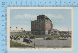 Halifax Nova Scotia -The C.N.R. Station, Animated Old Cars -  Postcard Carte Postale - Halifax