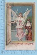 Pere Noel - Ange Et Père Noel Entrant Dans Une Maison, Cover Lyndonville 1908+ Timbre -  Postcard Carte Postale - Santa Claus