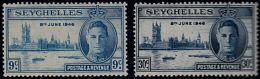 A1131 SEYCHELLES 1946, SG 150-1  Victory,  MNH - Seychellen (...-1976)
