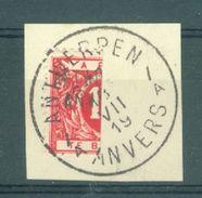 "BELGIE - OBP Nr TX Nr 13 - Taxe/strafport - Gehalveerd Op Fragment - Cachet   ""ANTWERPEN-ANVERS"" Litt. A - (ref. ST 628) - Tasse"