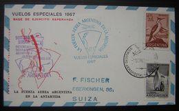 1967 La Fuerza Aerea Argentina (argentine) En La Antartida Carte Avec Timbres Des Deux Côtés, Voir Photo - Bases Antarctiques