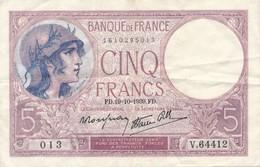 G502 - Billet De 5 Francs VIOLET - 1939 - 1871-1952 Anciens Francs Circulés Au XXème