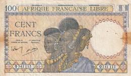 Billet De 100 Francs Afrique Francaise Libre RRR - Billets