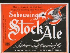 Sebewaing StockAle, Michigan (U.S.A.), Beer Label From 60`s. - Beer