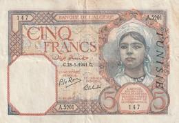 Billet De 5 Francs Tunisie Du 15 2 1933 Pick 8b Jpl - Tunisia