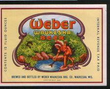 Weber Waukesha Beer, Waukesha Wisconsin (U.S.A.), Beer Label From 60`s. - Bière