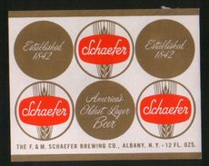 Schaefer, Albany - New York (U.S.A.), Beer Label From 60`s. - Bière