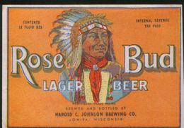 Rose Bud Lager Beer, Lomira Wisconsin (U.S.A.), Beer Label From 60`s. - Bière