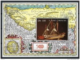 Sao Tome E Principe, 1987, Discovery Of America, Columbus, Ship, Map, MNH Sheet, Michel Block 172 - Sao Tome Et Principe
