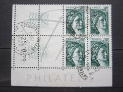 """VEND BEAUX TIMBRES DE FRANCE N° 1964 , EN BLOC DE 4 COIN DATE """" 25.10.79 """" , DECALES , OBLITERATION """" CAYENNE R.P """" !!! - Coins Datés"""