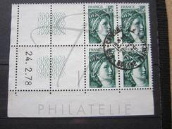 """VEND BEAUX TIMBRES DE FRANCE N° 1964 , EN BLOC DE 4 COIN DATE """" 24.2.78 """" , OBLITERATION """" CAYENNE R.P """" !!! - Coins Datés"""