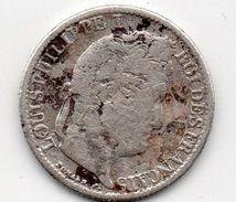 Pièce 1/2 Franc Argent , Louis Philippe I , 1833 W - Frankreich