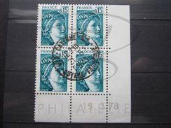 """VEND BEAUX TIMBRES DE FRANCE N° 1966 , EN BLOC DE 4 COIN DATE """" 15.3.78 """" , OBLITERATION """" CAYENNE R.P """" !!! - Coins Datés"""