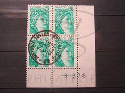 """VEND BEAUX TIMBRES DE FRANCE N° 1967 , EN BLOC DE 4 COIN DATE """" 3.3.78 """" , OBLITERATION """" CAYENNE R.P """" !!! - Coins Datés"""