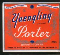 Yuengling Porter, Pottsville Pennsylvania (U.S.A.), Beer Label From 60`s. - Beer