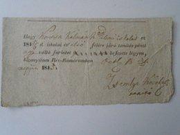 AV504.12  Hungary  Receipt Nyugta - Rév-Komárom -Kossa Kálmán 1845 - 1 Frt -tanítási Pénz - Rechnungen