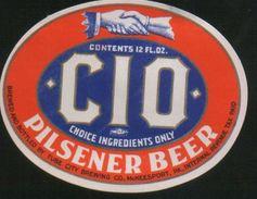 CIO Pilsener Beer, McKeesport Pennsylvania (U.S.A.), Beer Label From 60`s. - Beer