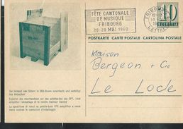 Carte De Service  Chemins De Fer SBB-CFF. N° Zumstein 2009 N° 54e. - 003  Obl: Fribourg - Lettres 14/05/1960 - Enteros Postales