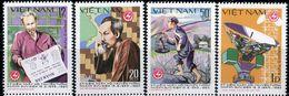 """VIETNAM  1980  MNH   -  """" OISEAU En CAGE  / BIRD - JOURNÉE DES POSTES ET TELECOMMUNICATIONS """"  -  4  VAL - Birds"""