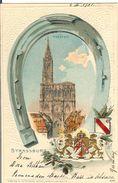 STRASBOURG STRASSBURG MUNSTER ARMOIRIES DE LA VILLE ET FER A CHEVAL EN RELIEF 9 JUILLET 1901 - Strasbourg