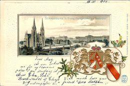 STRASBOURG STRASSBURG EVANG GARNIFONSKIRCHE ARMOIRIES DE LA VILLE EN RELIEF 12 MARS 1902 DESTINATION TURIN - Strasbourg