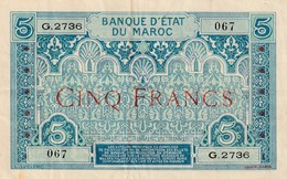 Billet 5 Francs Maroc Deuxieme Type Ref Muszynski 504d - Maroc