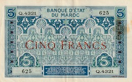 Billet 5 Francs Maroc Deuxieme Type Ref Muszynski 504e - Maroc