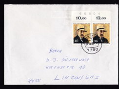 Germany: Cover, 1985, 2 Stamps, Liebermann, Numbered Tab, Counting Numbers (traces Of Use) - Brieven En Documenten