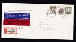 Germany: Registered Express Cover, 1967, 3 Stamps, Label, Airport Frankfurt, Flughafen, From Air France (minor Damage) - Brieven En Documenten