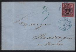 HANNOVER / 1855 -  Mi # 3b PRACHT EXEMPLAR AUF FALTBRIEF NACH STADTHAGEN (ref 7718) - Hannover