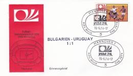 Germany Cover 1974 FIFA World Cup Football - Hannover Bulgaria-Uruguay 1:1    (DD9-28) - Coppa Del Mondo