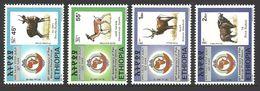 ETHIOPIA 1998 WILDLIFE BUFFALO WATERBUCK GAZELLE BUSHBACK POSTAL UNION SET MNH - Ethiopia