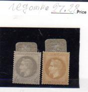 1863    Napoléon III, Empire Français, 27 Et 28 Regommé, Cote  315 € - 1862 Napoléon III
