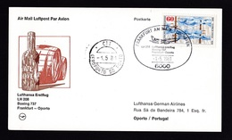 Germany: FFC First Flight Card, 1981, 1 Stamp, Lufthansa Boeing 737 Frankfurt-Porto Portugal (traces Of Use) - Brieven En Documenten